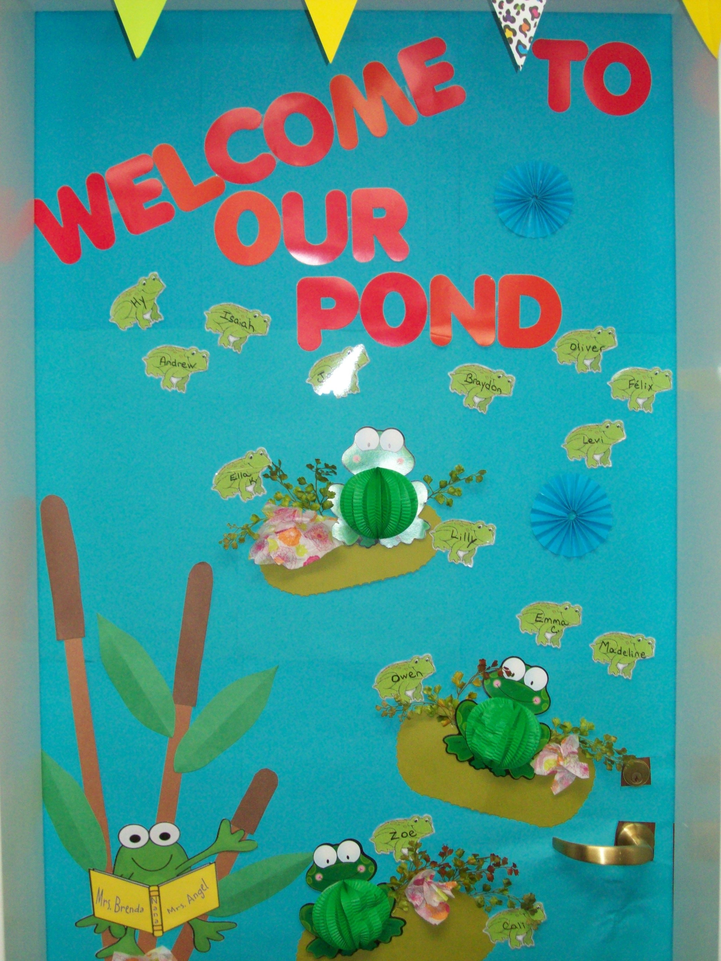Frog Classroom Decoration Ideas ~ A three year old class decorated their door with frogs