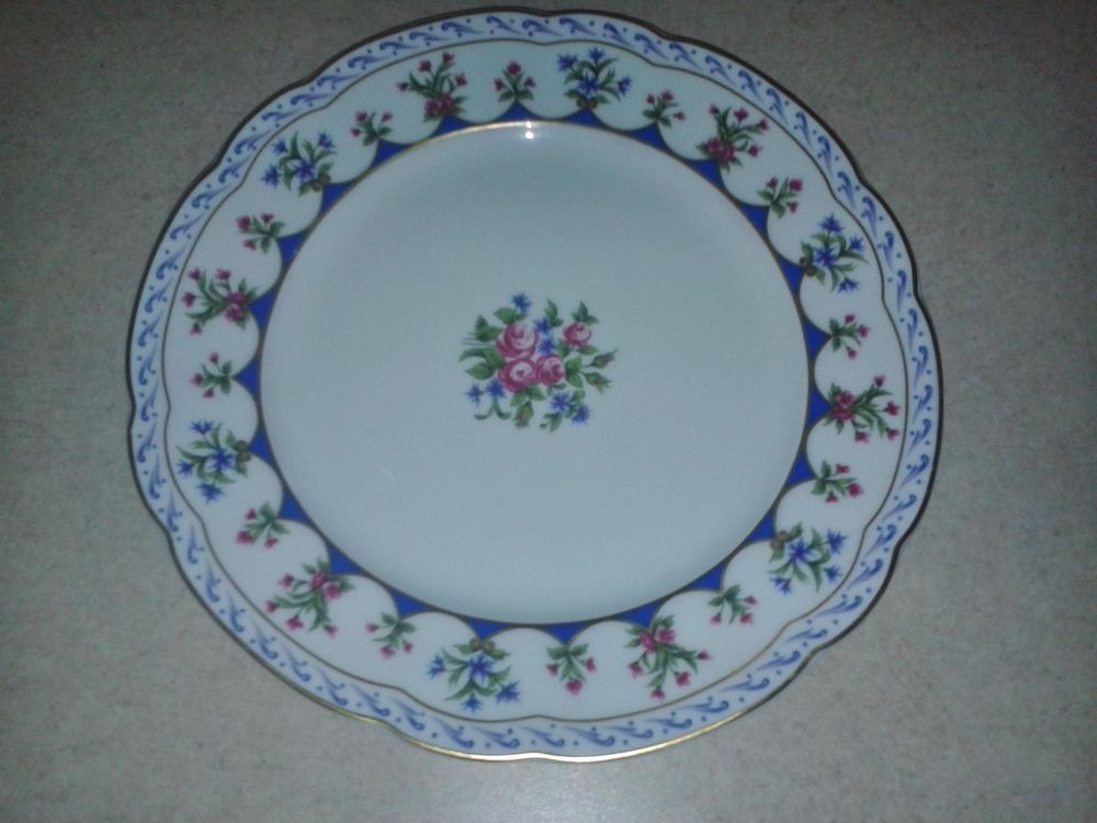 Vtg Bernardaud Limoges Chateaubriand Blue French  China Dinner Plate 10.25 in #BernardaudLimoges