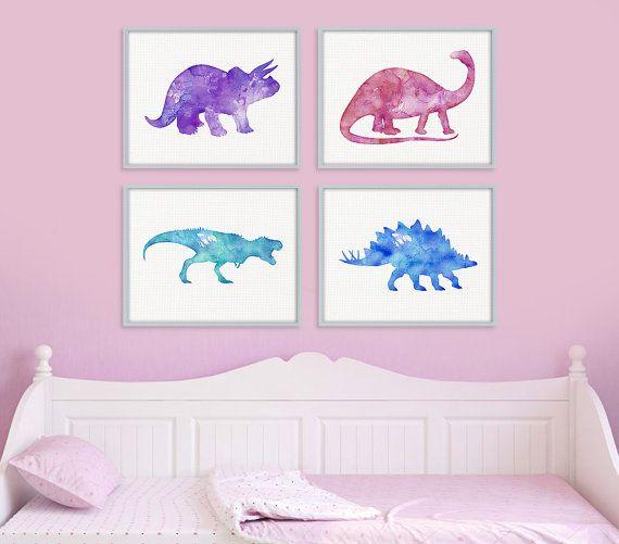 Nursery Art For Children Kids Wall Art Baby Girl Nursery Baby: Dinosaur Watercolor Print Set, Baby Girl Dinosaur Nursery