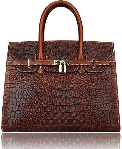 Beau Pijushi Classic Embossed Crocodile Purse Genuine Leather Office Ladies  Handbags Satchel Padlock Tote Bag