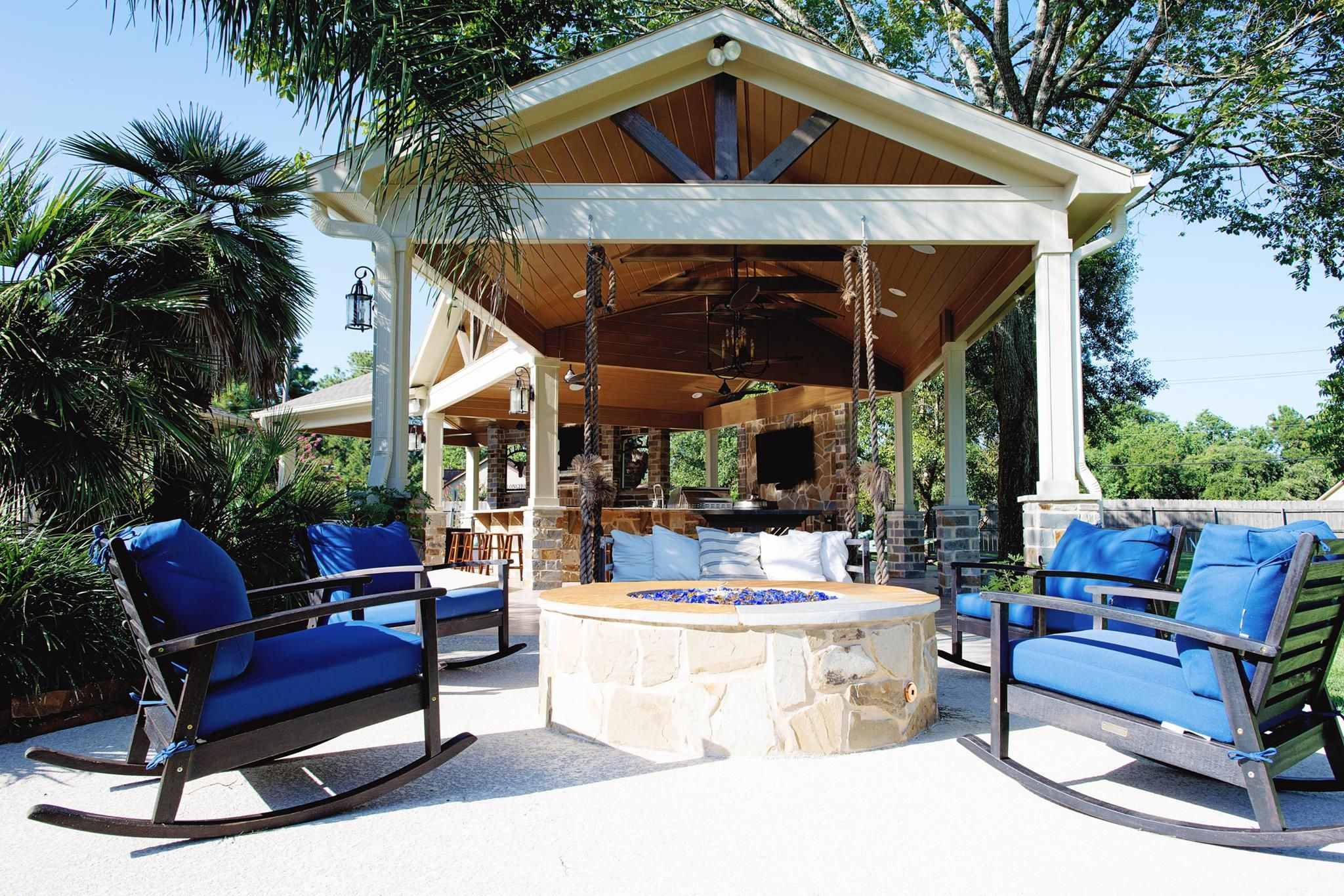 Beautiful fire pit and covered patio built by Backyard ... on Retreat Outdoor Living id=32603