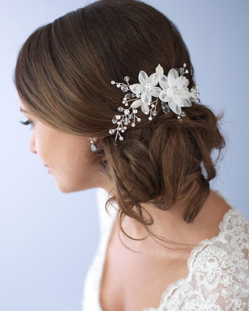 tulle flower side comb in 2019 | bridal accessories | hair