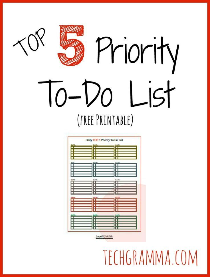 Top 5 Priority TO DO List Free Printable Organization Tips and