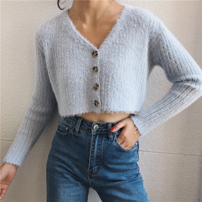 Furry Knit V-Neck Cardigan Sweater from FE CLOTHING