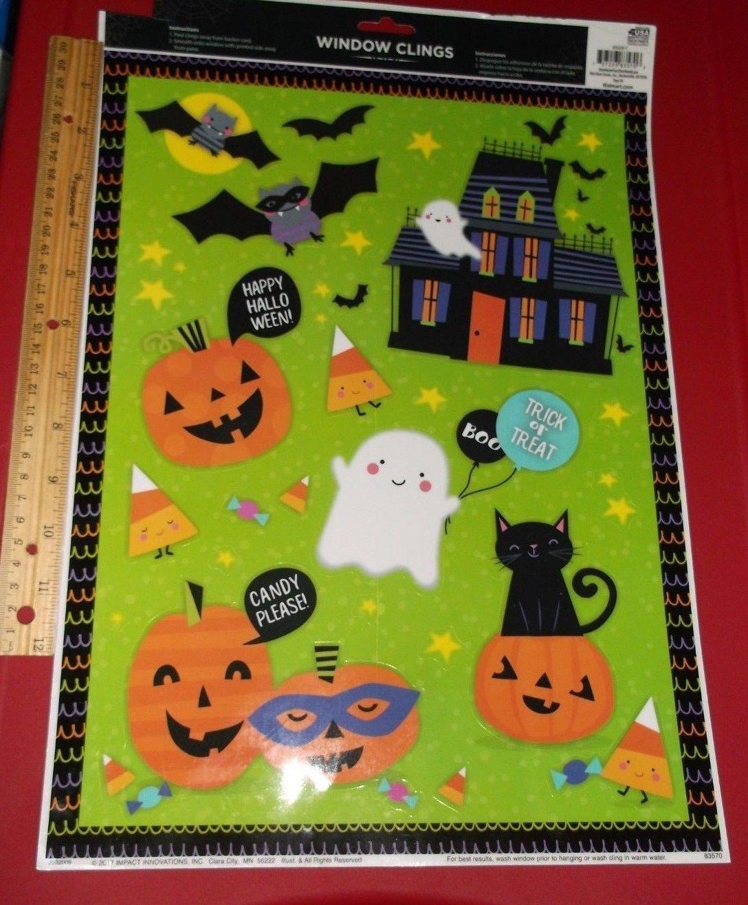 1.49 | new-happy halloween window clings-ghost-bats-jack-o-lanterns