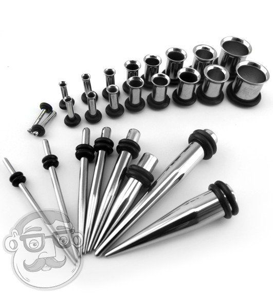 O-rings Included 316l Surgical Steel BodyJewelryOnline 4 Pc 0 Gauge Taper and Tunnel Kit