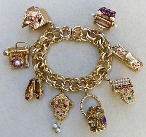 Vintage 14k Gold Charm Bracelet: Vintage Solid 14k Gold Exquisite Jeweled Charm Bracelet