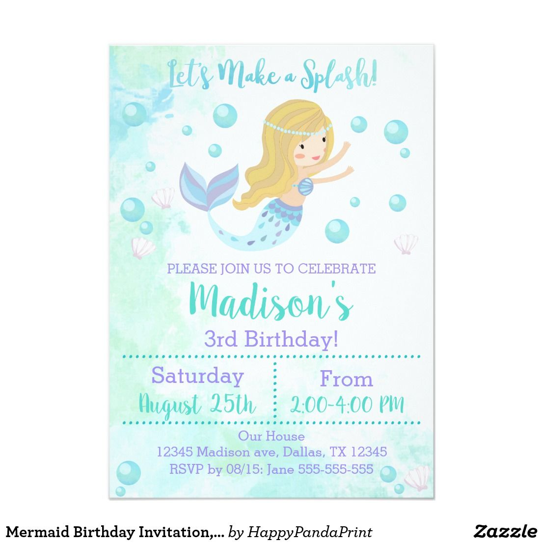 Mermaid Birthday Invitation Blonde Mermaid Invitation