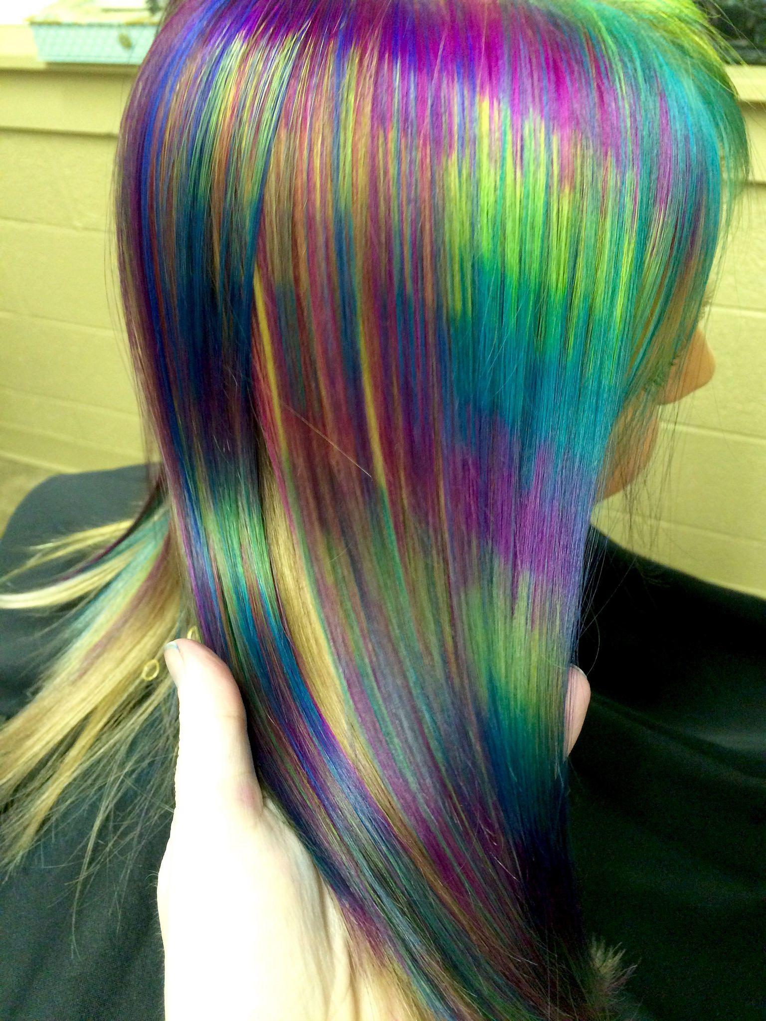 rainbow stripe hair