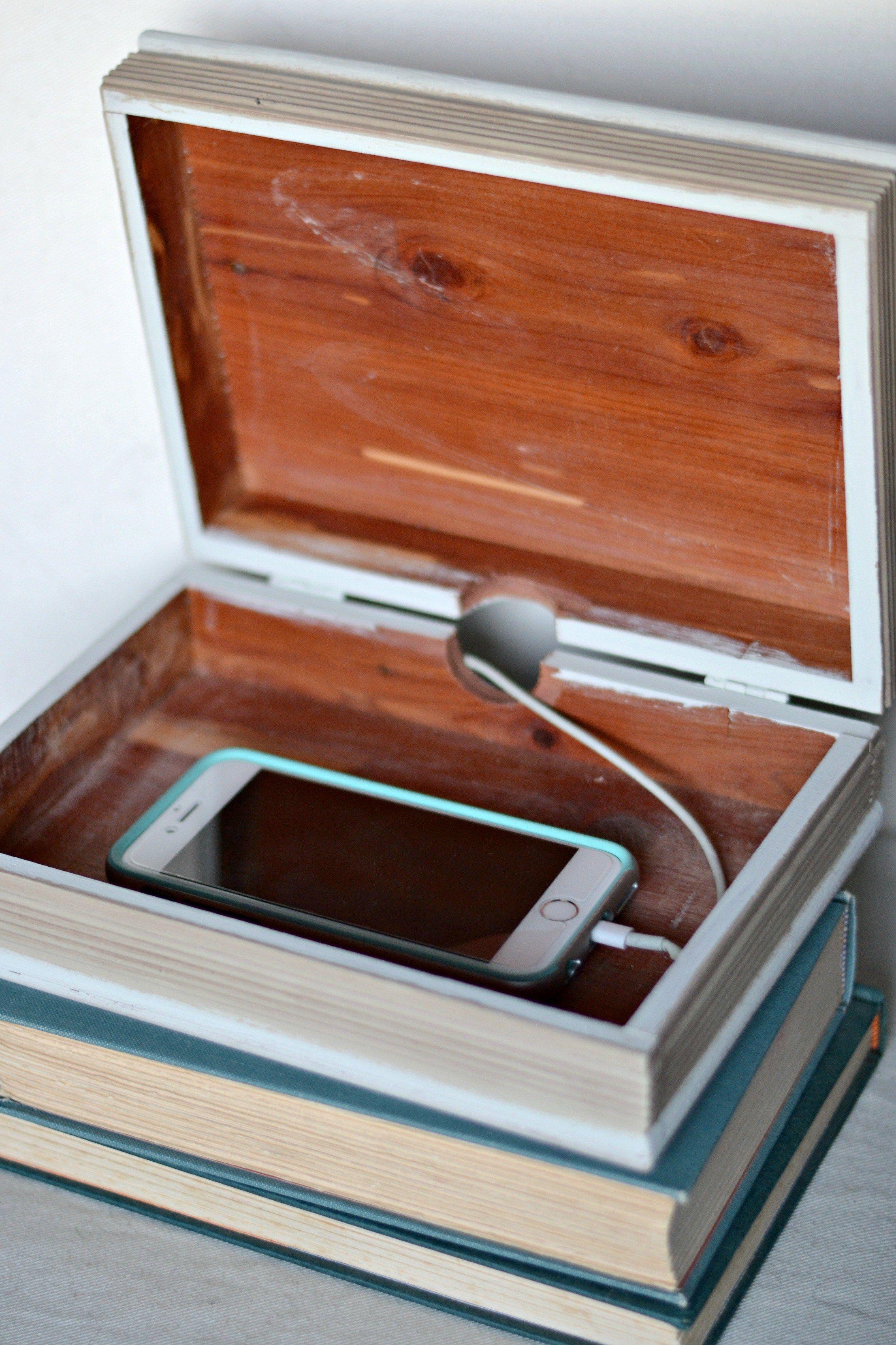 Diy charging station hidden storage in a book box hide for Diy hidden storage