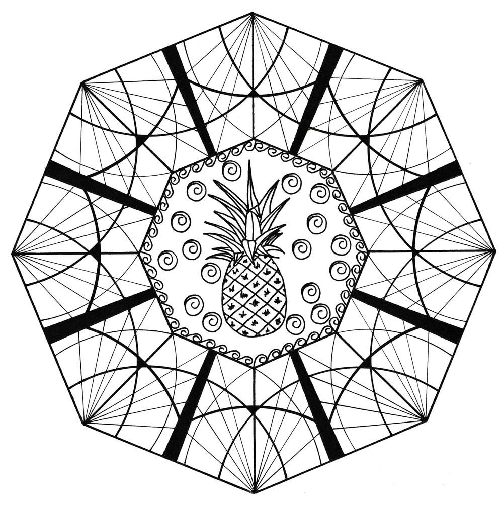 MindBoggling Pineapple Adult Coloring Page Coloring
