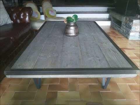 diy table basse style industriel et bois vieillie avec cerclage m tallique youtube meubles. Black Bedroom Furniture Sets. Home Design Ideas