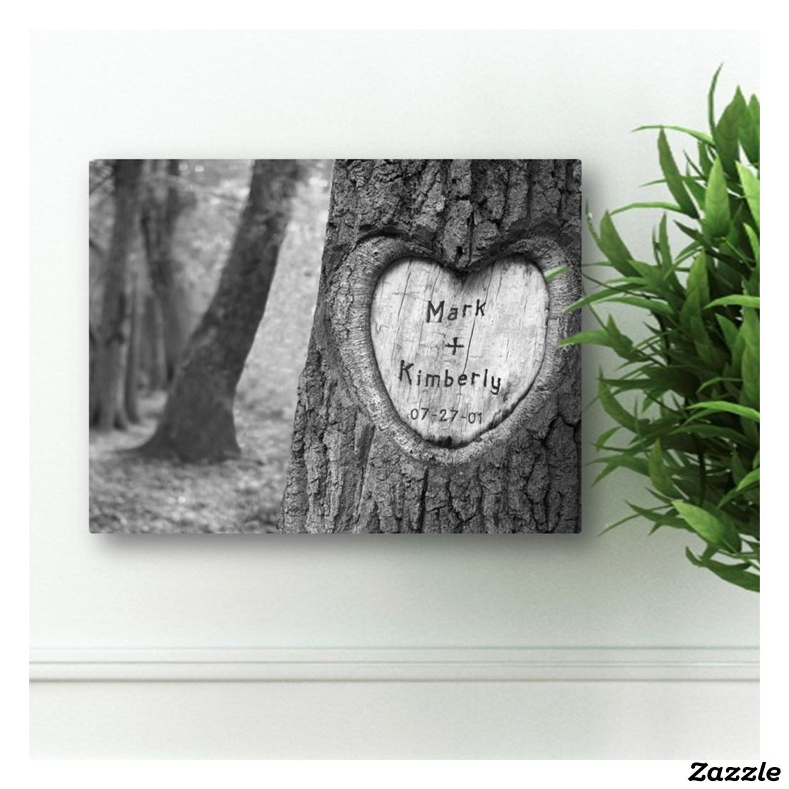 Tree Of Love Custom Black And White Canvas Print Personalized Tree Personalized Wall Art Tree Carving