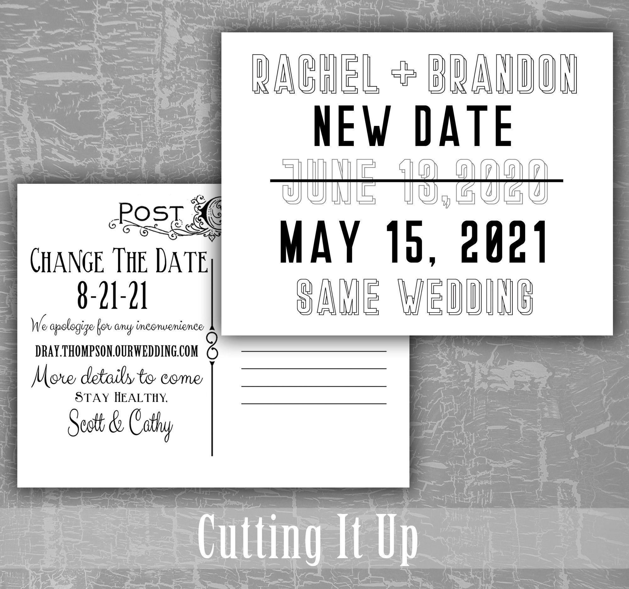 Custom New Date Same Wedding Postcard Invitation / Change
