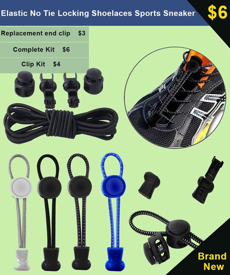 No Tie Elastic Shoelace Lock Laces Shoe Strings Fastening Sports Locking ac0