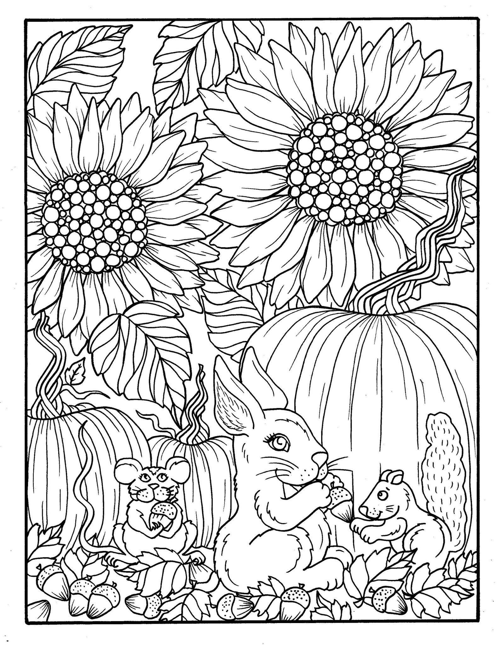 Fall Friends Digital Coloring Book Fall Pumpkins Cats Etsy Fall Coloring Pages Coloring Books Fall Coloring Sheets [ 2055 x 1588 Pixel ]