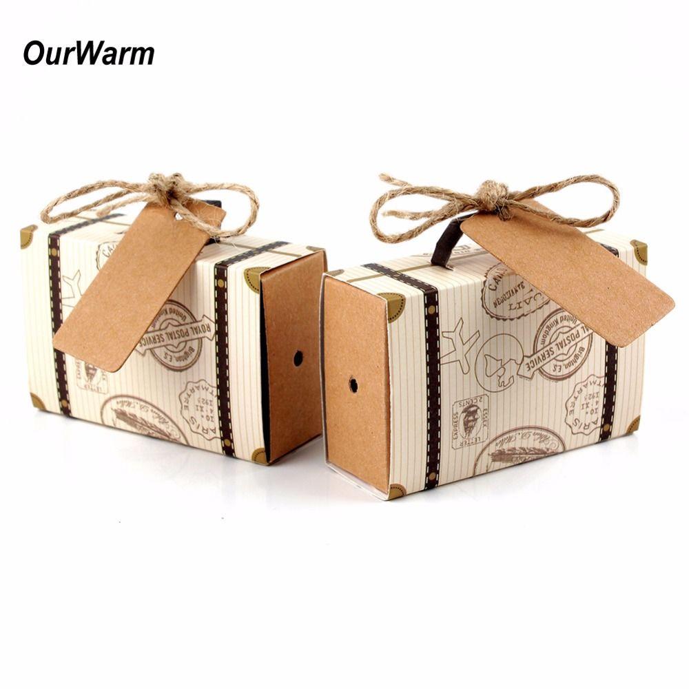 Ourwarm 10pcs Wedding Favor Chocolate Boxes Vintage Mini Suitcase ...