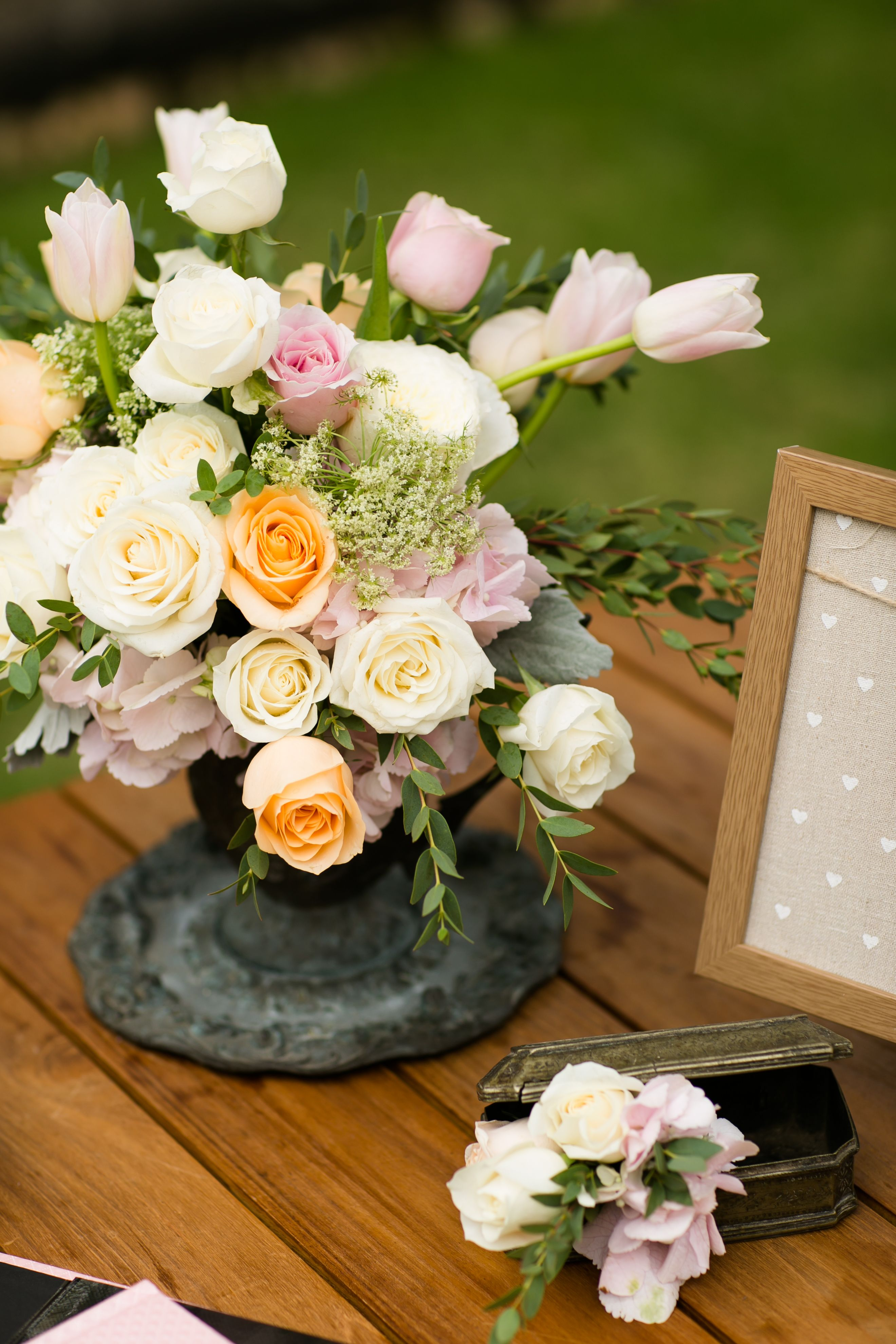 Wedding decorations without flowers  The Registration Table with Rustic Tone  Romantic Garden Party