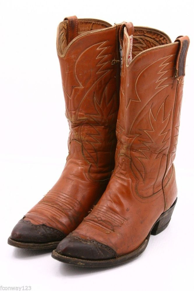 b8978848e39 Details about NOCONA Mens Vintage Brown Leather Cowboy Boots Size 9 ...