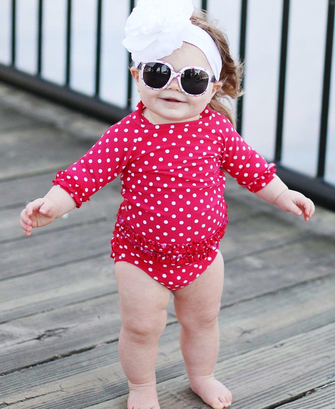 5b9d0a65e7016 Red Polka Dot Ruffled Rash Guard Bikini | Little Things For Wren ...