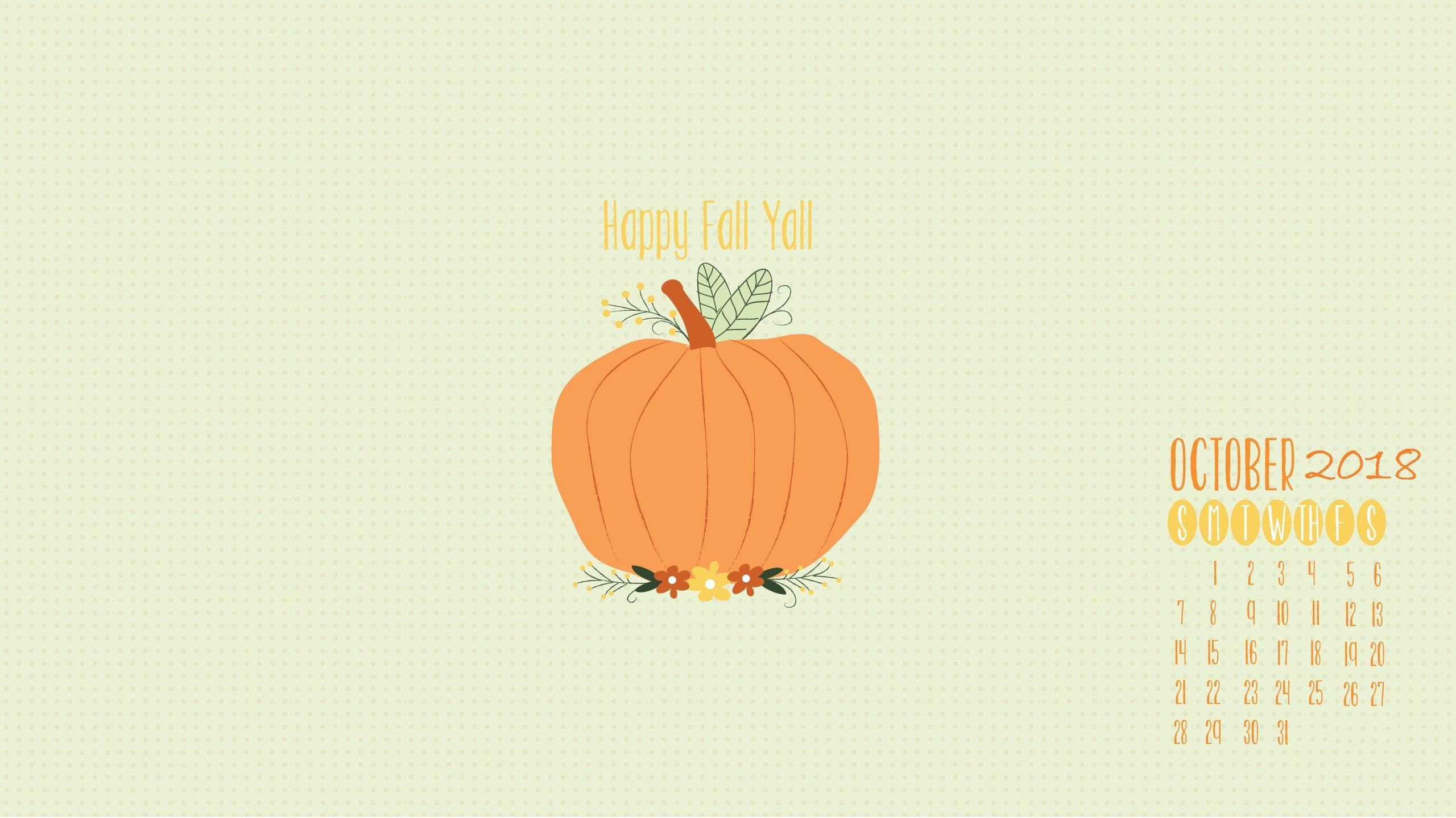 October Desktop Background 2018 Calendar wallpaper