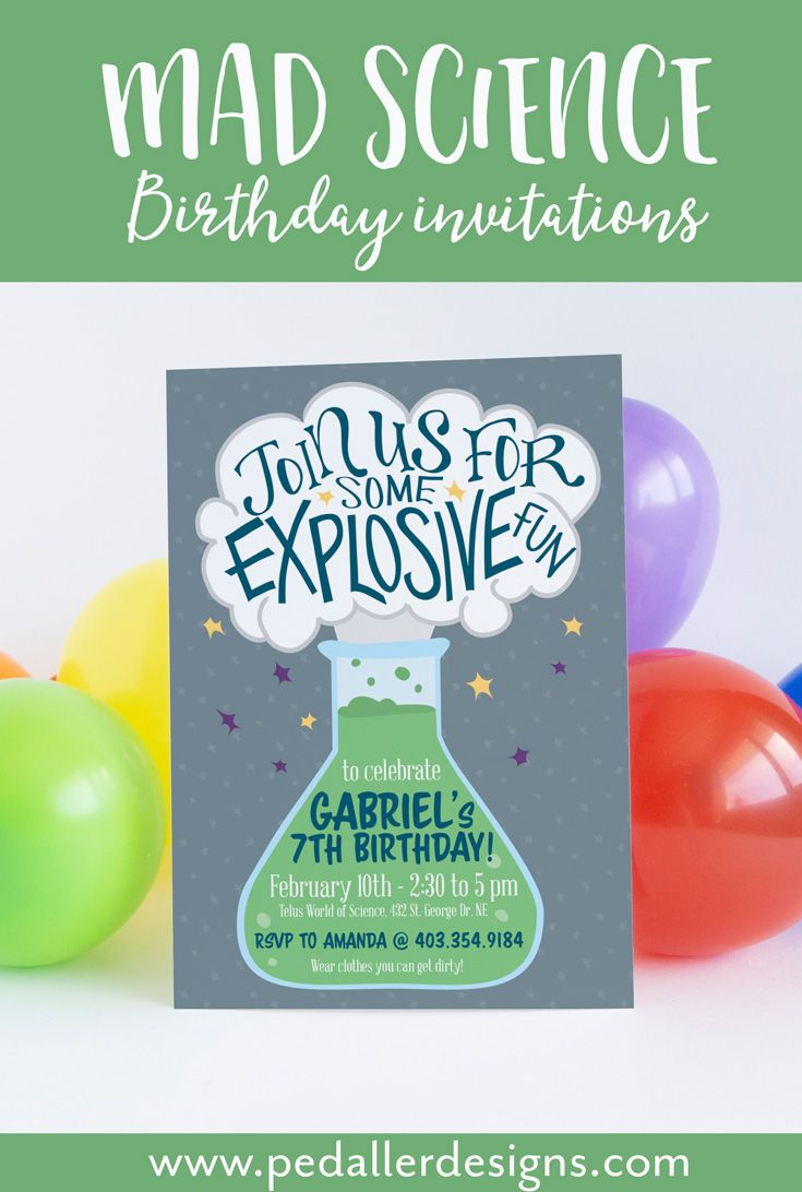 Science birthday Invitation, Mad Science Birthday Party, Crazy ...