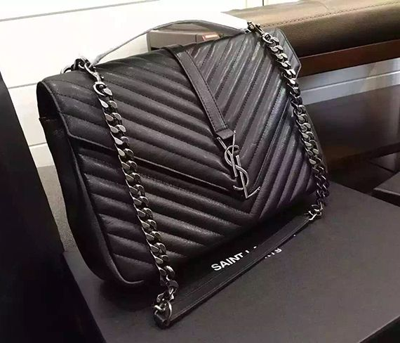 d3d2d5839b1e ysl black with silver chain leather shoulder bag Ysl Purse