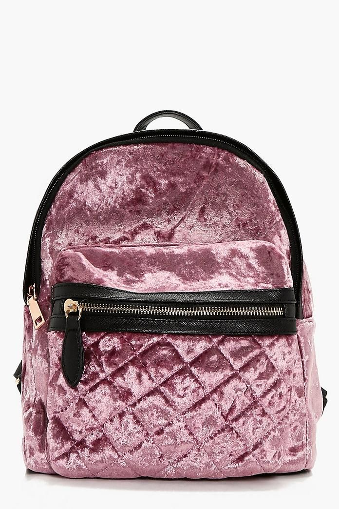 41934c1a64 Sarah Crushed Velvet Quilted Rucksack