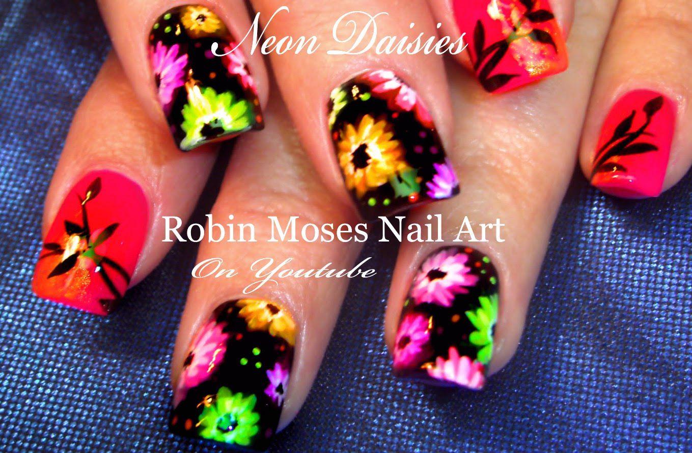 Neon Daisy Nails Hot Rainbow Flower Nail Art Design Tutorial