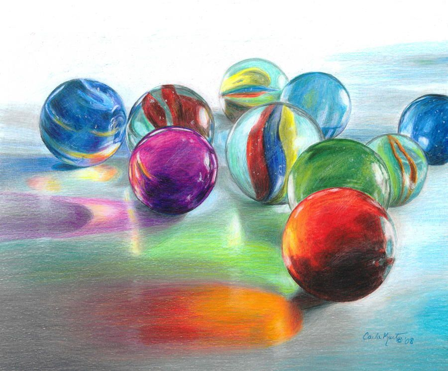 Marble Colored Pencil Drawings Of Clusters : Red marble reflections glass marbles colored pencils