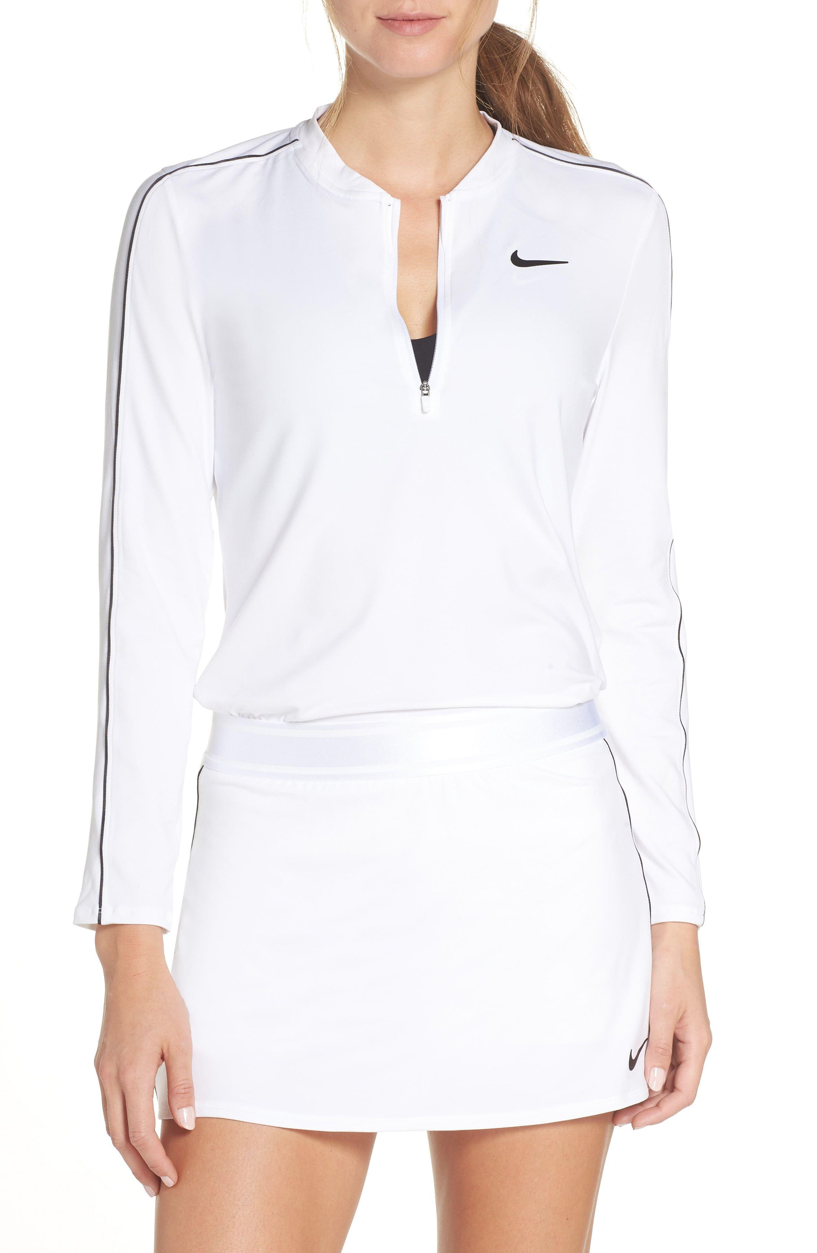 Women S Nike Court Dri Fit Quarter Zip Top Size X Small White Quarter Zip Jacket Quarter Zip Pullover Fashion Clothes Women