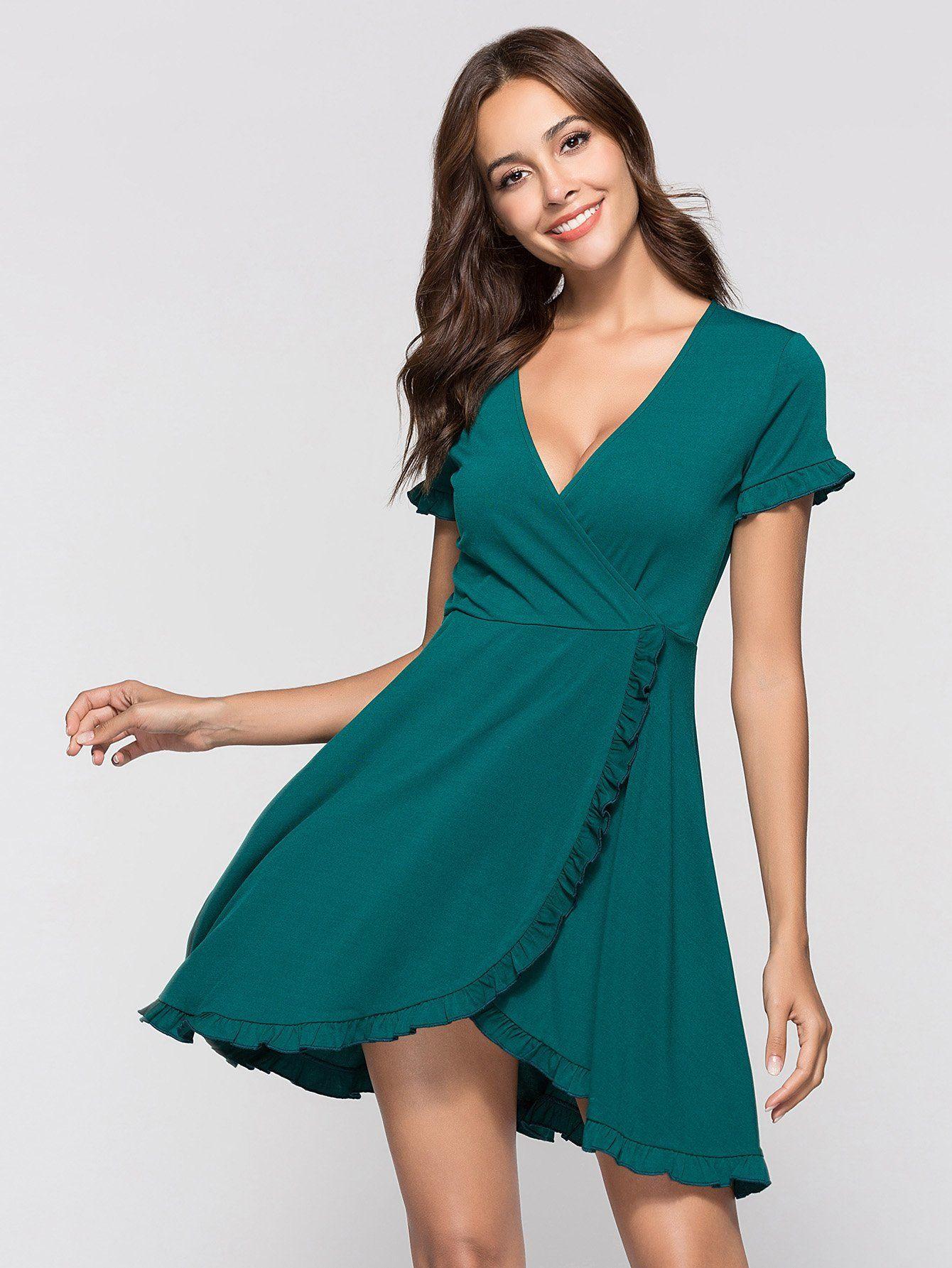 Deep v neckline frill trim dress fashion pinterest fashion
