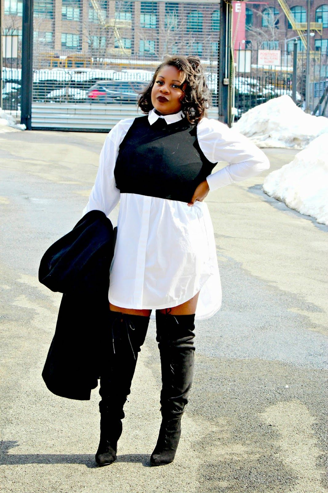 Plus Size Fashion - CurvEnvy: SHIRTDRESS   THIGH HIGH BOOTS ...