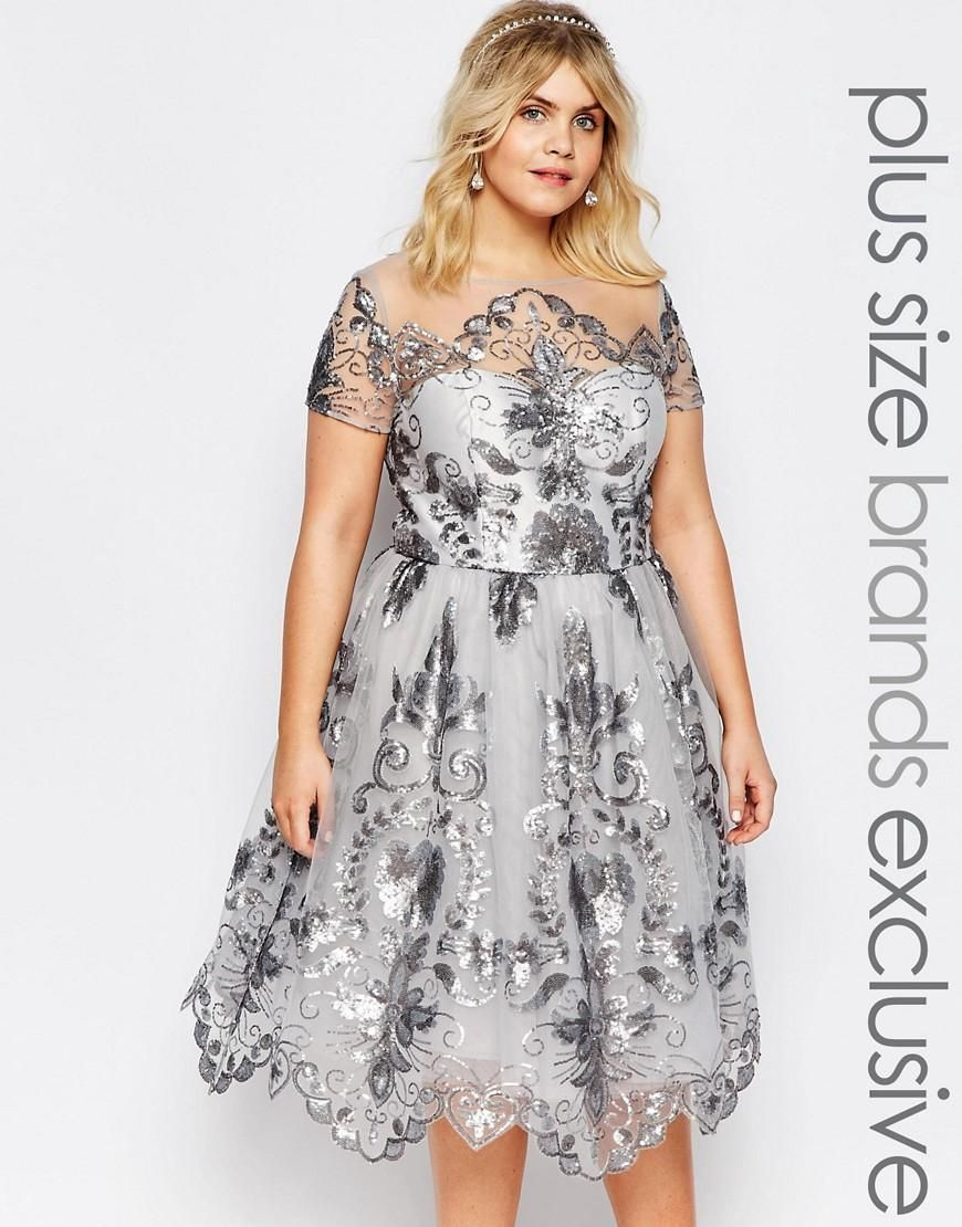 Chi Chi Plus | Chi Chi London Plus Midi Prom Dress with Delicate ...