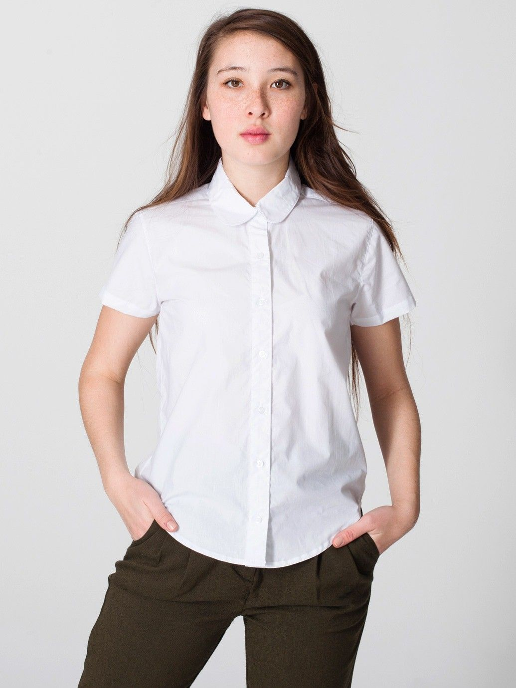 Poplin Round Collar Short Sleeve Button Up Short Sleeves