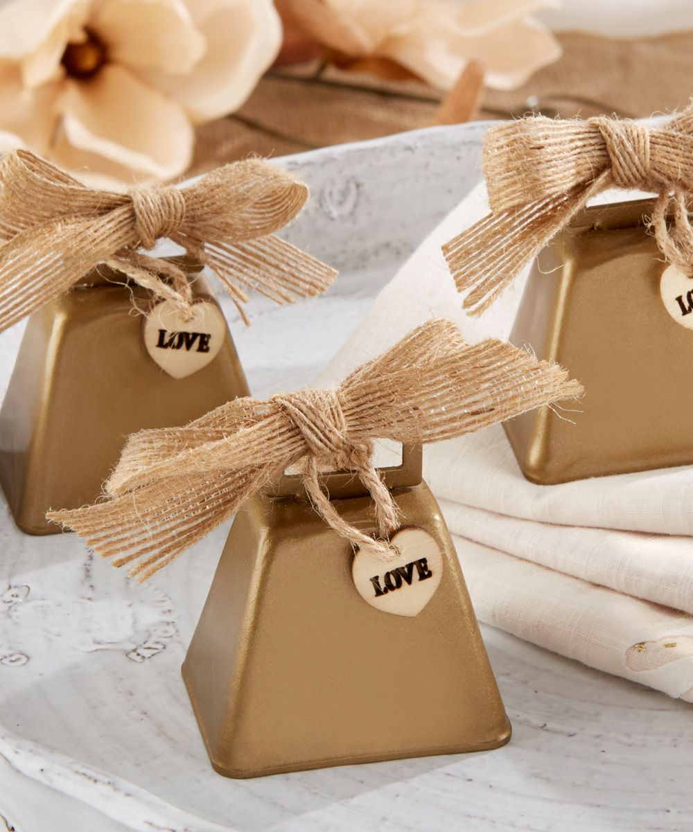 Country Charm Cowbell Kissing Bell Set Of 12 Wedding Day