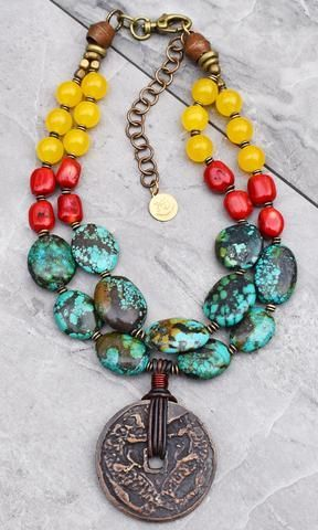 Photo of Bold Fashionable Statement Red Coral, Black Onyx, Lime & Gold Necklace