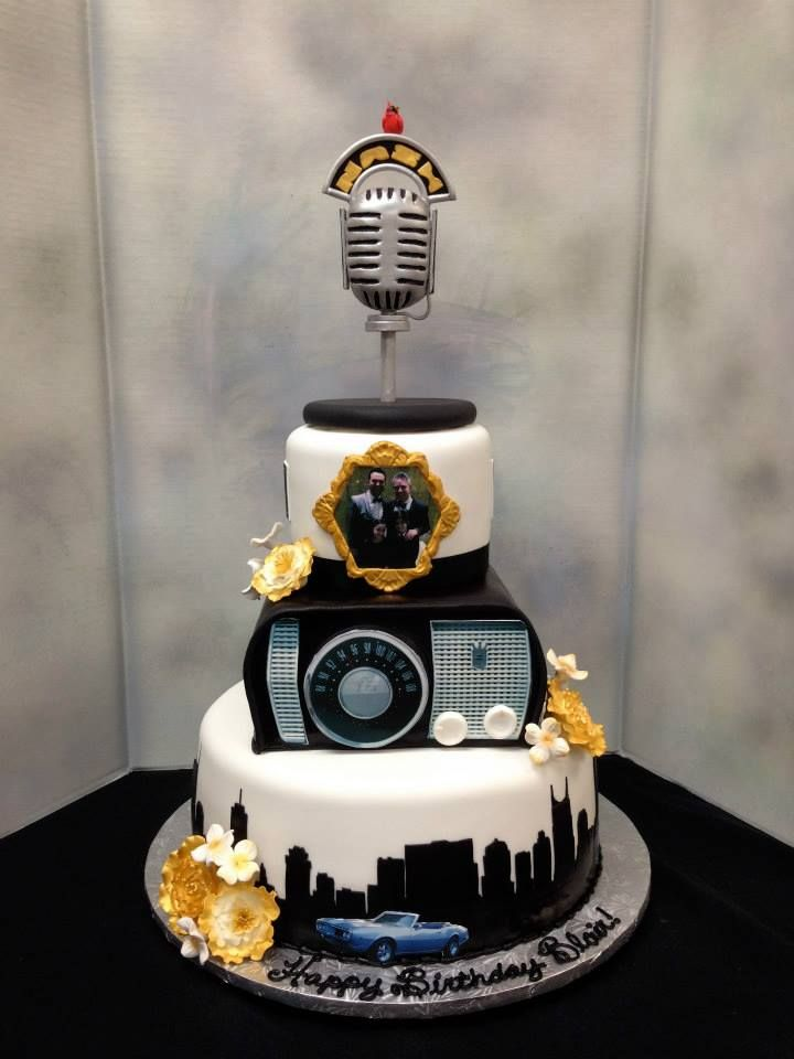 Vintage Radio Cake With Mic And Nashville Skyline Vintageradiocake