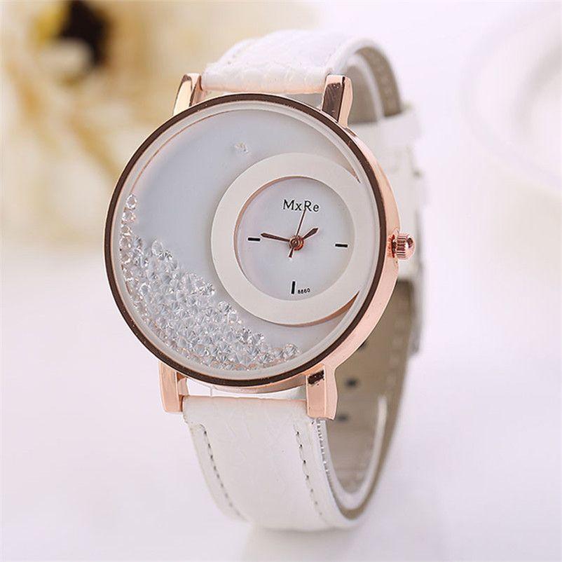 c142ef9a04c CLAUDIA Mulheres Relógio de Quartzo Das Senhoras Relógios Das Mulheres de  Couro Areia Movediça Strass Pulseira Relógio de Pulso relogios feminino  montre ...