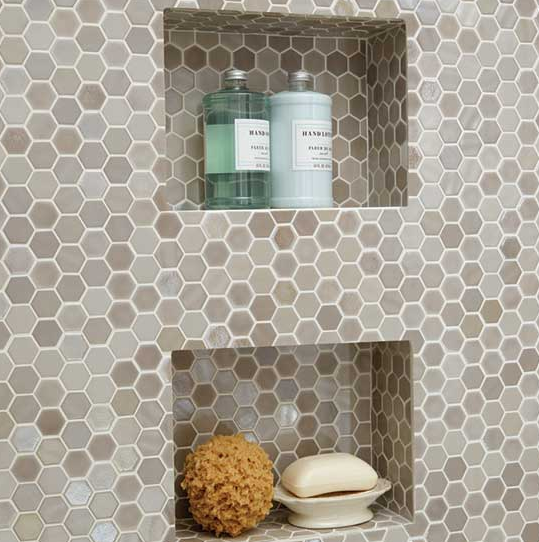 Glass Mosaic Shower Niche Uptown Daltile Kitchen Backsplash - Daltile backsplash ideas