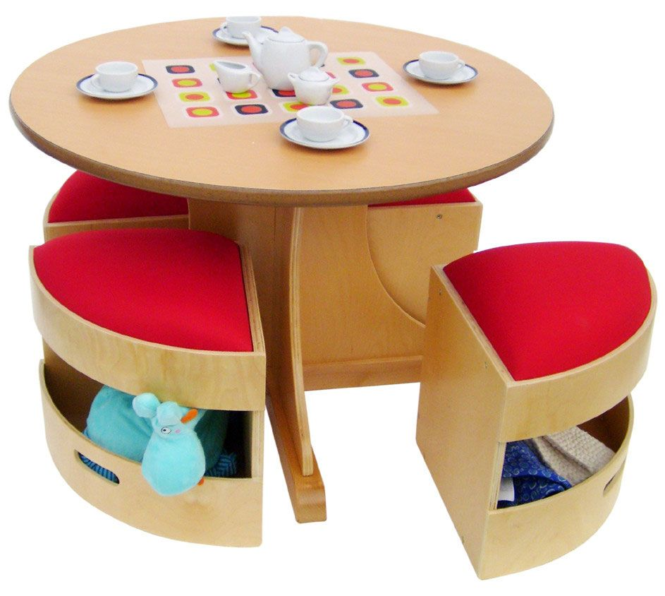 This modern birch table es with 4 tidy stools which
