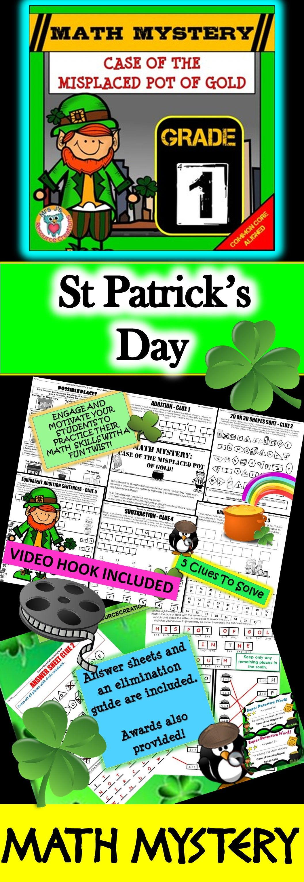 1st Grade St Patrick S Day Math Activity
