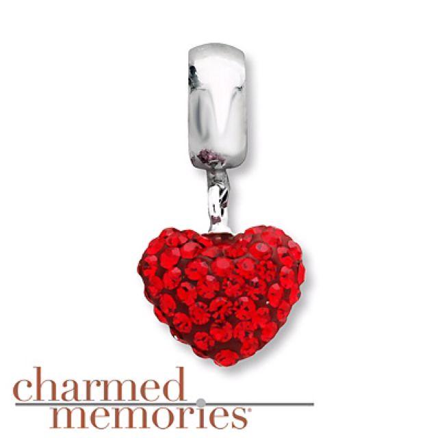 Red Crystal Heart Dangle Charm