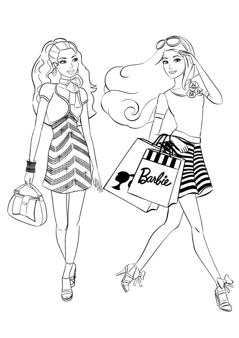 Shopping Trip High Quality Free Coloring From The Category Barbie More Printable Pictu Barbie Coloring Pages Princess Coloring Pages Mermaid Coloring Pages