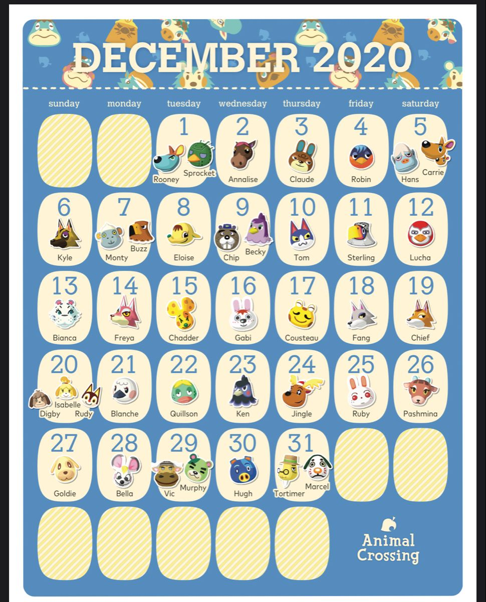 Pin By N On Ac 2020 Calendar Starting In March In 2020 Animal Crossing Game Animal Crossing Qr Animal Crossing