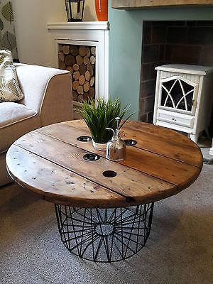upcycled cable reel coffee table on