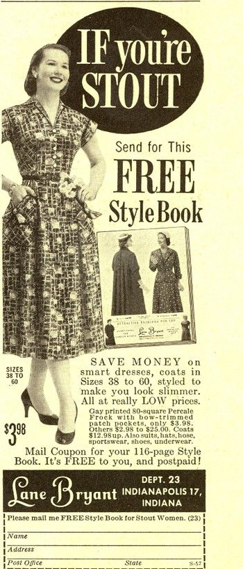 Vintage Ad For Lane Bryant Fashions For 'stout' Women