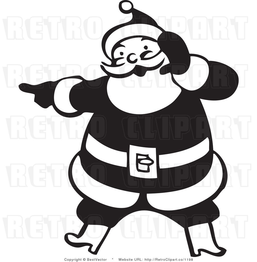 Royalty Free Black And White Retro Vector Clip Art Of A Santa Art Retro Vector Santa Claus Images Christmas clip art black and white cool