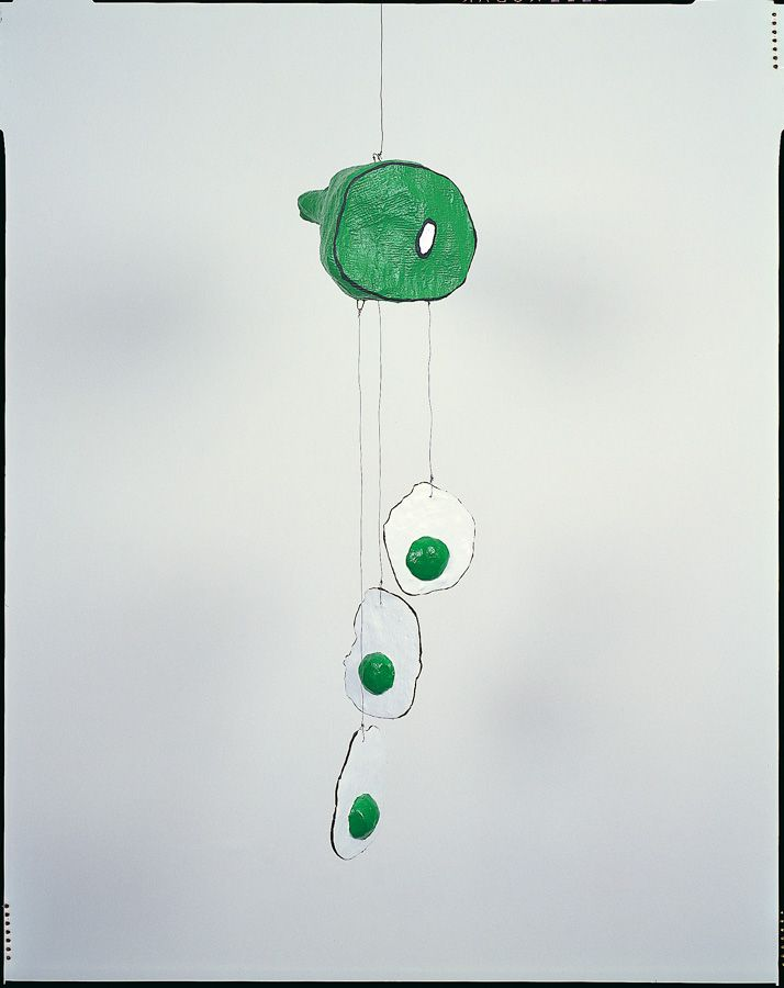 """Meg Cranston's """"Green Eggs and Ham"""" from 1992 Mixed media consisting of cardboard, plaster, wire and acrylic 44 x 7 x 9 3/8 in. Offered by Track 16. #drseuss"""