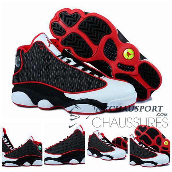 official photos 96806 c4113 Nike Air Jordan 13   Classique Chaussure De Basket Homme Blanche Noir Rouge